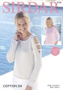 Sirdar Ladies Sweaters Cotton Knitting Pattern 8124  DK