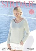 Sirdar Ladies Sweater Cotton Knitting Pattern 8125  DK