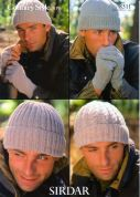 Sirdar Mens Hats & Gloves Country Style Knitting Pattern 8311  4 Ply