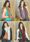 Sirdar Ladies Loopy Scarves Knitting Pattern 8717