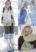Sirdar Ladies & Girls Scarves & Accessories Big Softie Knitting Pattern 9054  Super Chunky