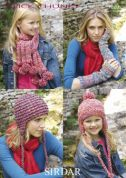 Sirdar Ladies & Girls Hats, Scarves & Wrist Warmers Click Knitting Pattern 9229  Chunky