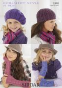 Sirdar Ladies & Girls Hats & Wrist Warmers Country Style Knitting Pattern 9348  4 Ply