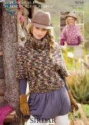 Sirdar Ladies & Girls Sweaters Knitting Pattern 9358  Super Chunky
