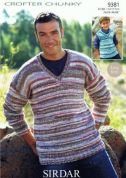 Sirdar Mens & Boys Sweater & Tank Top Knitting Pattern 9381  Chunky