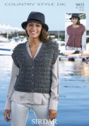 Sirdar Ladies Waistcoats Country Style Knitting Pattern 9433  DK