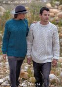 Hayfield Mens & Ladies Sweaters Bonus Knitting Pattern 9465  Aran