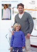 Hayfield Family Sweaters Bonus Knitting Pattern 9551  Aran