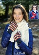 Sirdar Ladies Scarf, Mittens, Gloves Country Style Knitting Pattern 9617  DK