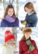Sirdar Ladies & Girls Hat, Gloves & Snood Wash n Wear Knitting Pattern 9629  DK