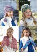 Sirdar Ladies & Girls Hats, Wrap & Wrist Warmers Knitting Pattern 9661  Chunky
