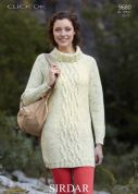 Sirdar Ladies Sweater Dress Click Knitting Pattern 9680  DK