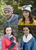 Sirdar Ladies & Mens Hats, Wrist Warmers & Snood Click Knitting Pattern 9681  DK