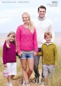 Hayfield Family Sweaters & Hoodies Bonus Knitting Pattern 9692  Aran