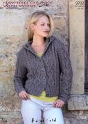 Hayfield Ladies Hooded Jacket With Wool Knitting Pattern 9702  Chunky