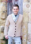 Hayfield Mens Cardigan With Wool Knitting Pattern 9703  Chunky