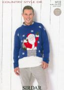 Sirdar Mens Christmas Sweater Country Style Knitting Pattern 9722  DK