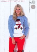 Sirdar Ladies Christmas Sweater Country Style Knitting Pattern 9723  DK