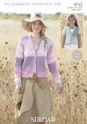 Sirdar Ladies & Girls Cardigans Summer Stripes Knitting Pattern 9732  DK