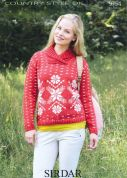 Sirdar Ladies Christmas Sweater Country Style Knitting Pattern 9754  DK