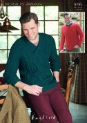 Hayfield Mens Sweaters Bonus Knitting Pattern 9795  Aran