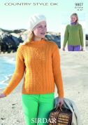 Sirdar Ladies Sweaters Country Style Knitting Pattern 9807  DK