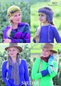 Sirdar Ladies & Girls Hats, Scarf & Wrist Warmers Indie Knitting Pattern 9821  Super Chunky