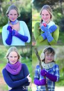 Sirdar Ladies & Girls Mittens & Snood Click Knitting Pattern 9858  DK