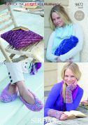 Sirdar Ladies Slippers, Wrist Warmers, Cushion & Bottle Cover KiKO Knitting Pattern 9872  Super Chunky