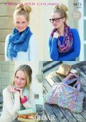 Sirdar Ladies Scarf, Snood, Bag & Bangle KiKO Knitting Pattern 9873  Super Chunky
