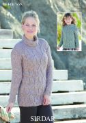 Sirdar Ladies & Girls Sweaters Freya Knitting Pattern 9881  Chunky