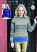 Sirdar Ladies Sweaters Giselle Knitting Pattern 9892  Aran