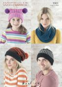 Hayfield Family Hats & Snood With Wool Knitting Pattern 9901  DK