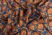 Storrs London Egyptian Cotton Lawn Fabric  Orange & Blue
