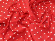 Christmas Spots Print Polycotton Dress Fabric  Red