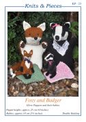 Sandra Polley Foxy & Badger Glove Puppets & Toys Knitting Pattern KP23  DK