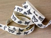 Butterfly Print Cotton Rustic Ribbon