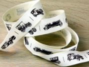 Vintage Style Cars Cotton Rustic Ribbon