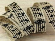 Musical Notes Print Hessian Jute Ribbon