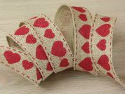 Heart Print Hessian Jute Ribbon