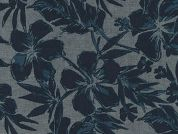 Robert Kaufman Floral Chambray Denim Dress Fabric  Blue