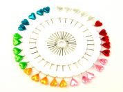 Heart Shape Long Craft Pins on a Pin Wheel  Multicoloured