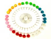 Flowers Shape Long Craft Pins on a Pin Wheel  Multicoloured