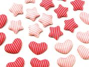 Heart & Star Gingham Adhesive Craft Embellishments  Pink