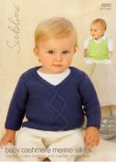 Sublime Baby Sweater & Tank Top Cashmere Merino Silk Knitting Pattern 6005  DK