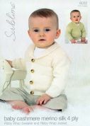 Sublime Baby Jacket & Sweater Cashmere Silk Merino Knitting Pattern 6032  4 Ply