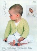 Sublime Baby Cardigan & Hat Cashmere Silk Merino Knitting Pattern 6034  4 Ply