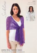 Sublime Ladies Scarf & Wrap Extra Fine Merino Knitting Pattern 6087