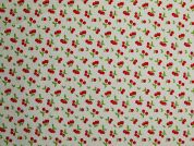 PUL Coated Jersey Fabric  Red on Ivory