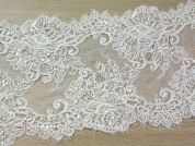22cm Beaded Guipure Couture Bridal Lace Trimming  Ivory